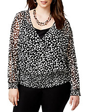 Plus Wrap-Front Printed Peasant Blouse