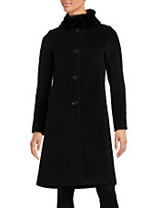 Fur Collar Wool and Cashmere Walker Coat
