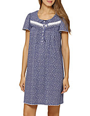 Button Front Short Night Gown