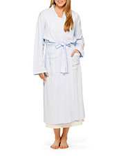 Embroidered Long Wrap Robe