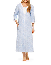Printed Long Zip-Up Nightgown