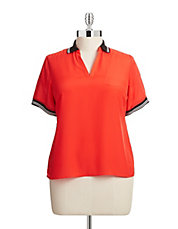 Plus Woven Polo Blouse