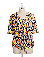 Plus Dolman V-Neck Floral Tie Shirt