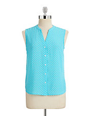 Petite Sleeveless Polka Dot Top
