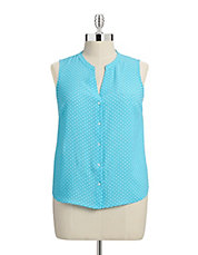Plus Sleeveless Polka Dot Top