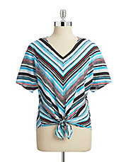 Striped Dolman Tie Front Shirt