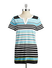 Striped Split Neck Tee