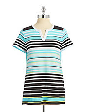 Petite Striped Split Neck Tee