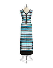 Petite Striped Drawstring Maxi Dress