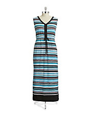 Plus Striped Drawstring Maxi Dress