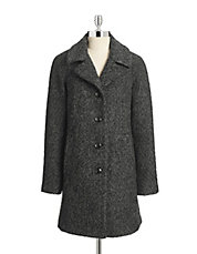 Collared Wool-Blend Boucle Coat