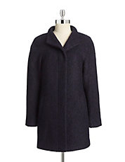Stand Collar Wool-Blend Boucle Coat
