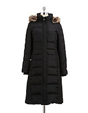 Faux Fur Trimmed Down Puffer Coat