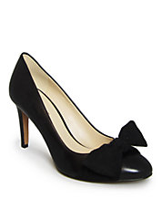 Hennight Leather Bow Pumps