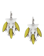 Jewel Noir Light Rhodium Plated Base Metal Resin and Acrylic Stone Cluster Lever Earring