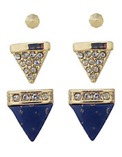 Gold Tone Lapis Crystal Spike Stud Earring Set