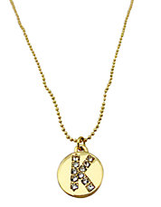Gold Tone Crystal Initial Pendant Necklace