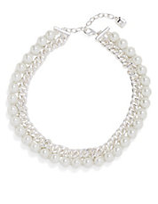 Curb Chain and Faux Pearl Necklace