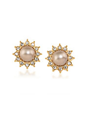 Faux Pearl Button Clip Earrings
