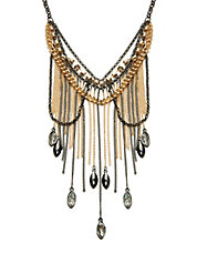 Bead and Chain Multi-Row Necklace