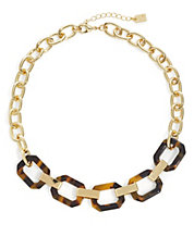 Faux Tortoiseshell Link Necklace