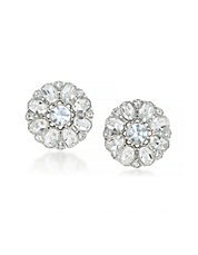 Floral Crystal Clip-On Earrings