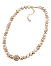 Gold Pearl Necklace With Gold Crystal Center