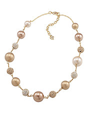 Crystal And Gold Pearl Illusion Necklace