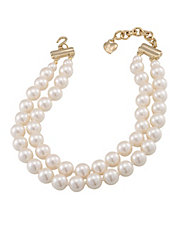 Two Row 12mm White Pearl Choker Necklace With Goldtone Clasp