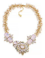 Gemstone Garden Dramatic Frontal Gold Tone Necklace