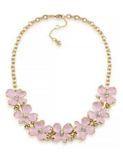 Gemstone Garden Floral Frontal Gold Tone Necklace