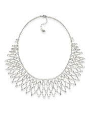 Crystal Stems Dramatic Frontal Silver Tone Necklace
