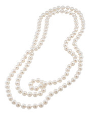 White Pearl Rope Necklace