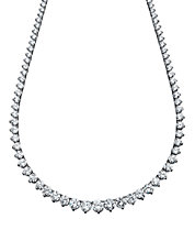 25.80 Cttw Riviera Tennis Necklace With Graduating Round Cut Cubic Zirconia Stones