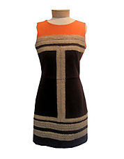 Colourblocked Dress With Woven Detail