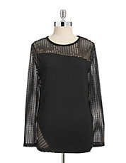 Light Jersey Mesh Pieced Top