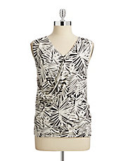 Sleeveless Printed Drape Front Top