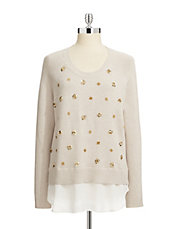 Embellished Chiffon Twofer Sweater