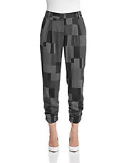 Pleated Grid Crop Pants