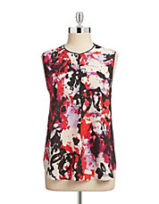 Floral Splash Sleeveless Blouse