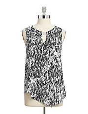 Printed Sleeveless Cascade Blouse