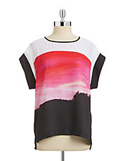 Sunset-Print Colourblock Blouse