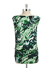 Printed Ruched Sleeveless Top