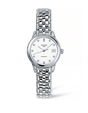 Analog Diamond and Stainless Steel Watch