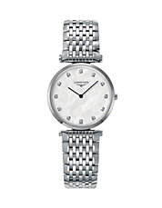 Mother-of-Pearl Stainless Steel Diamond-Marker Analog Watch