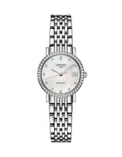 Elegant Mother-of-Pearl Pave Diamond Stainless Steel Watch