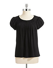Petite Short Sleeve Pleat Neck Top