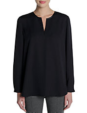 Plus Split Neck Blouse