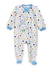 Polka Dot Fleece Footie