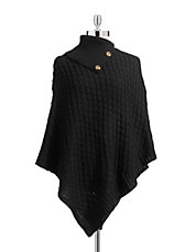 Basketweave Button Trim Poncho